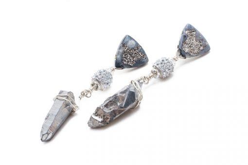 designer gemstone drop clip-ons