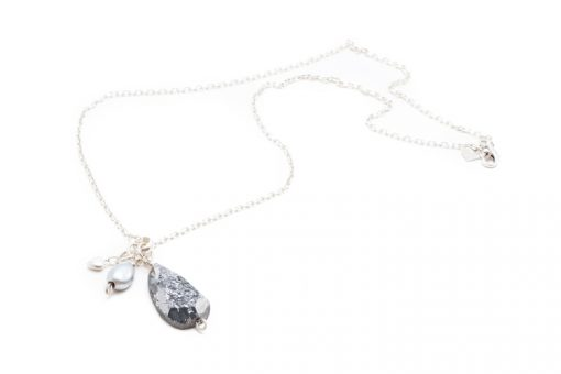 druzy quartz pearl sterling necklace