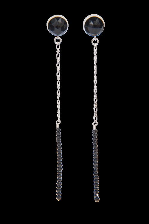 Black onyx Spinel sterling drop Earrings