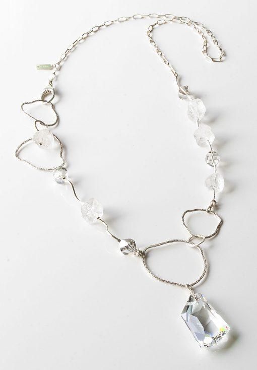 Sterling Silver Swarovski Quartz Crystal Necklace the Hard Rock by LULU | B Designs Calgary