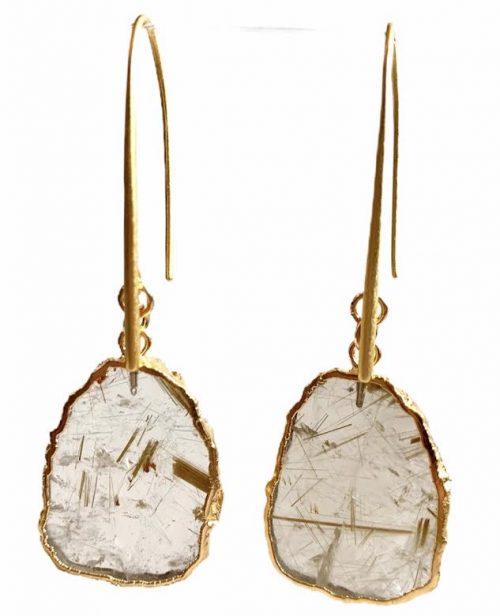 Gold Rutilated Quartz Vermeil Earrings
