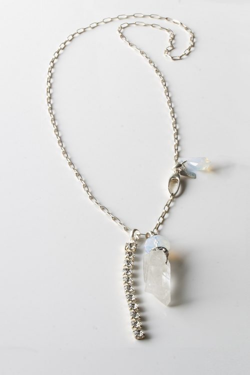 Sterling Silver Swarovski Rock Quartz Necklace the Rock n Glam by LULU | B Designs Calgary