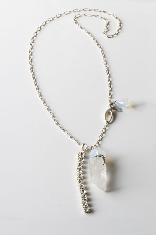 Sterling Silver Swarovski Rock Quartz Necklace the Rock n Glam by LULU | B Designs Calgary