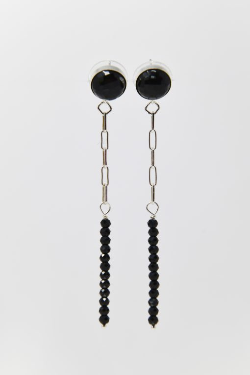 Black Onyx Sterling Drop Earring with Black Spinel