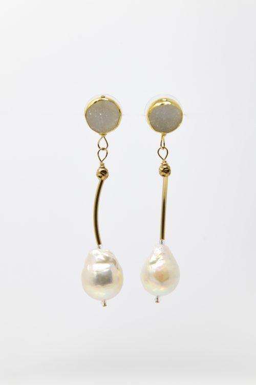 Druzy Freshwater Pearl Goldfill Oprah Earring by LULU | B™ Designs