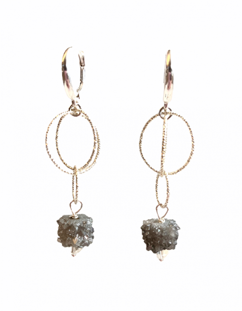 Druzy Agate Earring with Sterling Silver and Swarovski by LULU | B