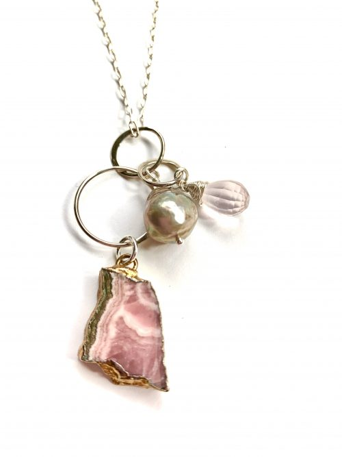 Rhodocrosite Rose Quartz and Pearl Sterling Silver Necklace by LULU | B